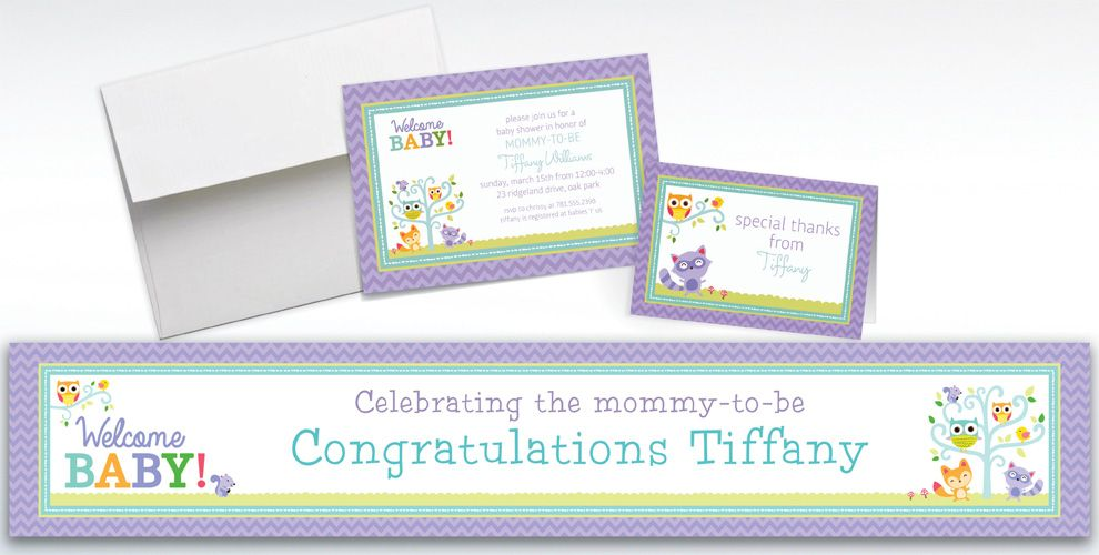custom woodland welcome baby shower invitations  thank you notes, party invitations