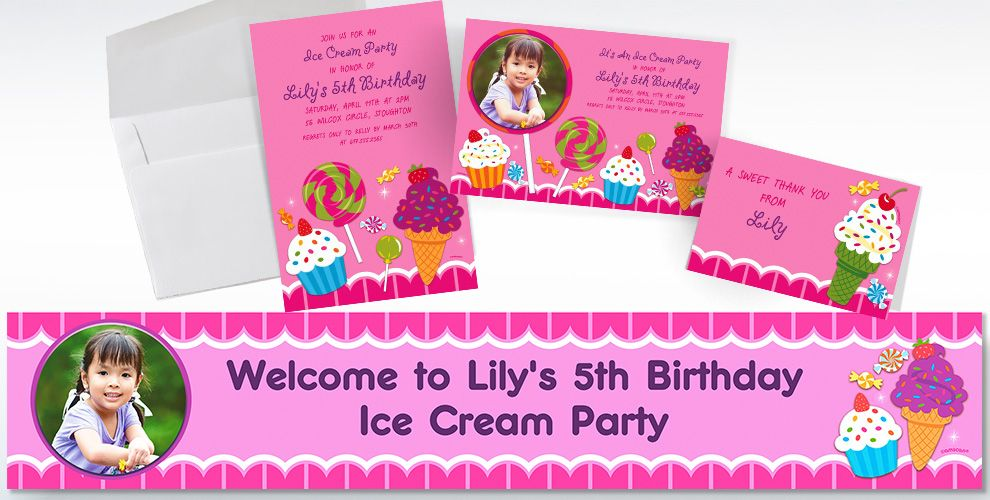 Custom Sweet Shop Invitations and Thank You Notes