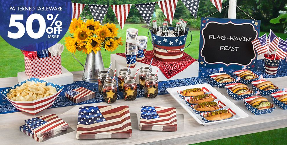 Rustic americana party supplies americana decorations for American party decoration