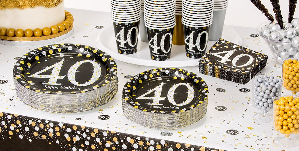Patterned Tableware 50% OFF MSRP — Sparkling Celebration 40th Birthday Party Supplies