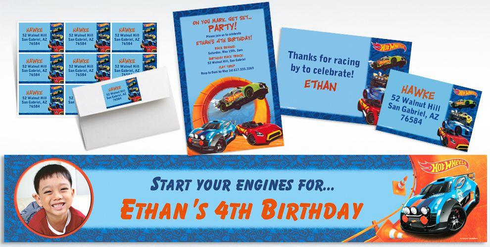 Custom Hot Wheels Wild Racer Invitations Thank You Notes Party – Hot Wheels Birthday Invitations