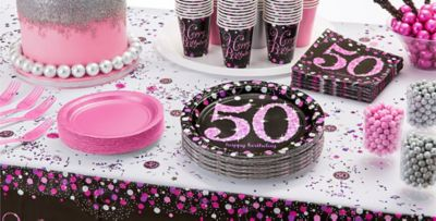 Pink Sparkling Celebration 50th Birthday Party Supplies Party City