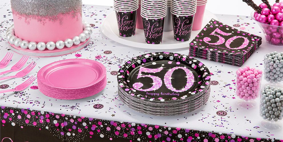 patterned tableware 50 off msrp pink sparkling celebration 50th birthday party supplies - 50th Birthday Party Decorations