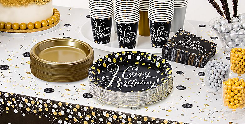 Happy Birthday Party Supplies 50% off Patterned Tableware MSRP