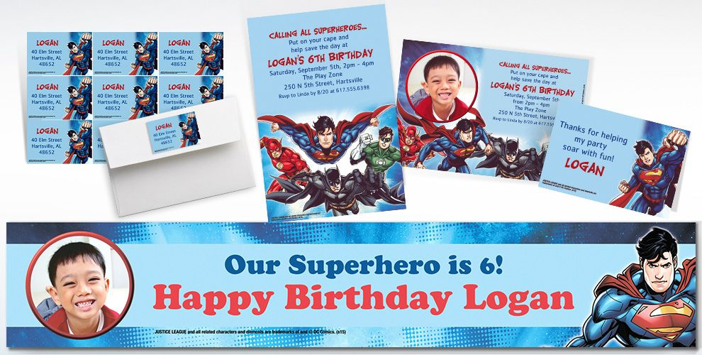 Custom Justice League Invitations and Thank You Notes
