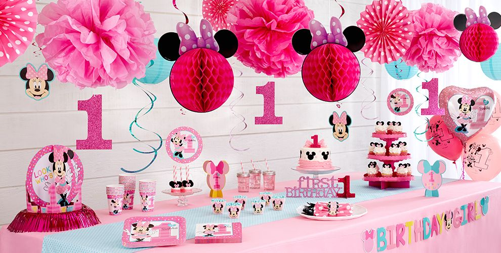 1st birthday minnie mouse party supplies party city canada for Baby minnie mouse party decoration