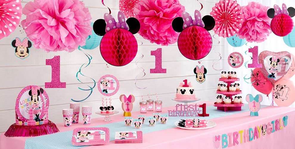 Minnie mouse 1st birthday party supplies party city for 1 year birthday decoration