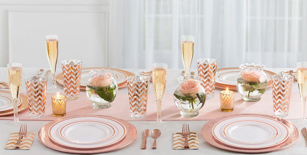 White Rose Gold Premium Tableware Party City