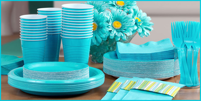 Solid Caribbean Blue Tableware #3