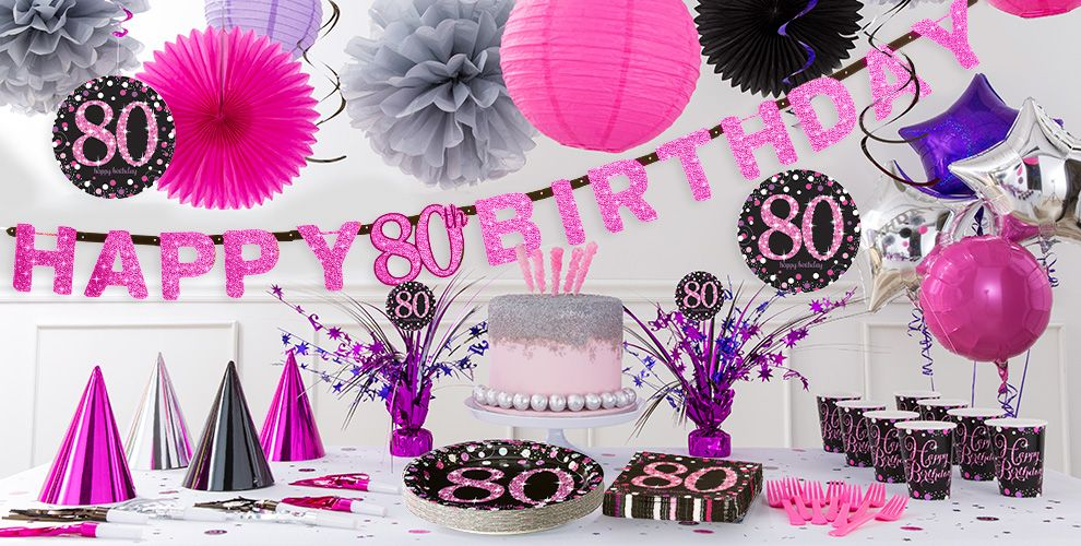 Pink sparkling celebration 80th birthday party supplies for 80th birthday decoration ideas