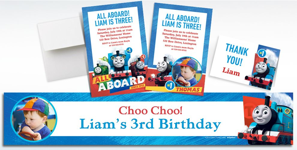 Custom Thomas the Train Invitations, Thank You Notes & Banners ...