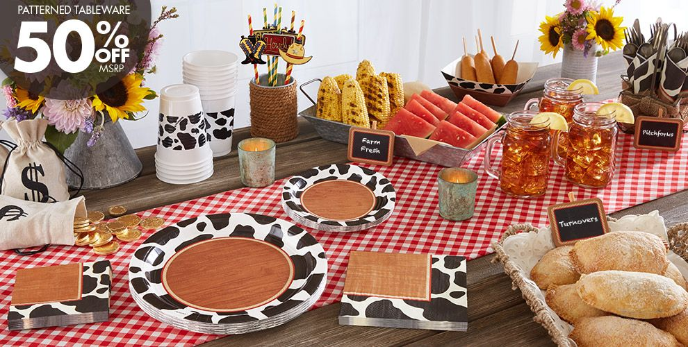 Yeehaw Western Party Supplies — Patterned Tableware 50% off MSRP