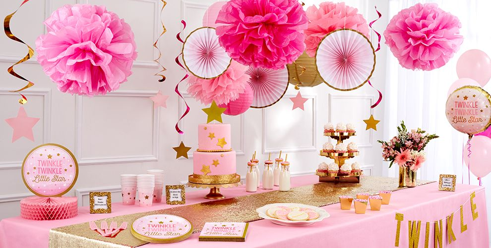 Pink Twinkle Twinkle Little Star Baby Shower Party Supplies