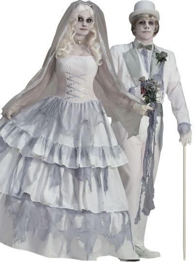 Victorian Ghost Bride and Groom Couples Costumes