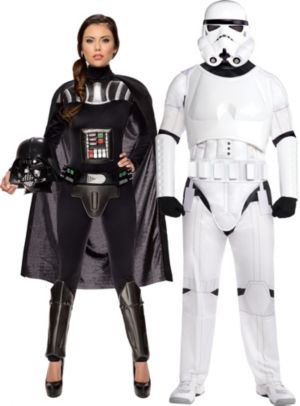 Adult Sassy Darth Vader & Stormtrooper Couples Costumes - Star Wars