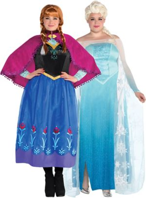 Adult Anna & Elsa Couples Costumes Plus Size - Frozen