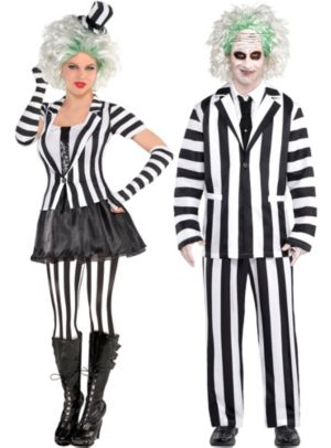 Adult Beetlejuice & Mrs. Beetlejuice Couples Costumes