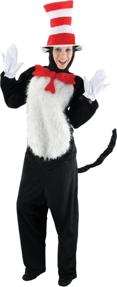 Adult Cat In The Hat Costume Deluxe Dr Seuss Top