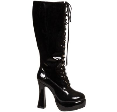 Patent Black Lace-Up Boots