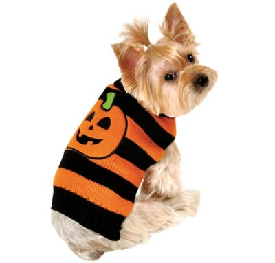 Striped Pumpkin Dog Sweater
