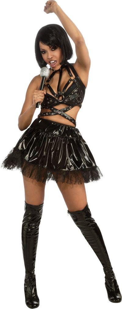 Adult Black Vinyl Rihanna Costume