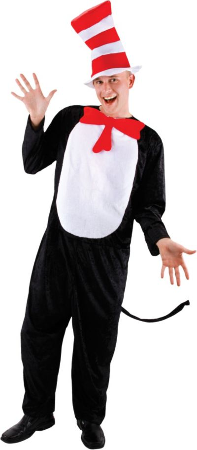 Adult Cat in the Hat Jumpsuit Costume - Dr. Seuss