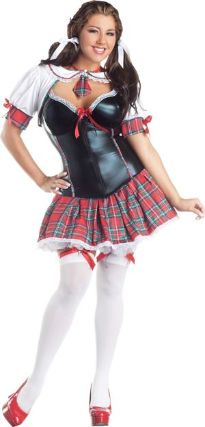 Adult School Girl Body Shaper Costume Plus Size