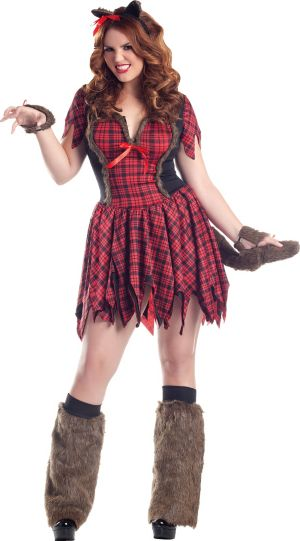 Adult Sultry Plaid Werewolf Costume Plus Size