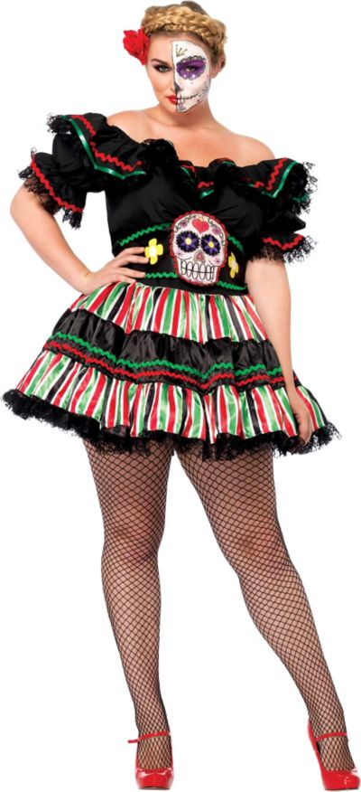 Adult Day of the Dead Doll Costume Plus Size