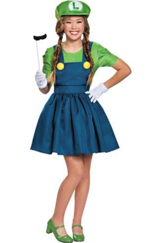 Tween Girls Miss Luigi Costume - Super Mario Brothers