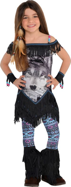 Little Girls Wolf Spirit Festival Costume
