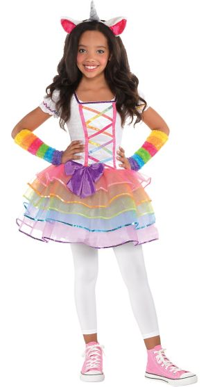 Toddler Girls Rainbow Unicorn Costume