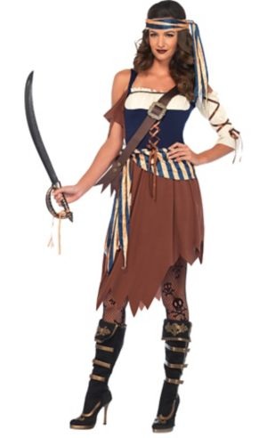 Adult Caribbean Castaway Pirate Costume