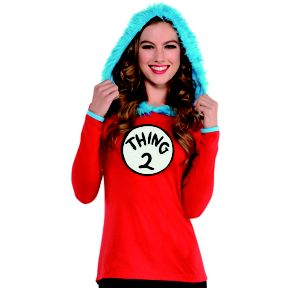 Adult Thing 1 & Thing 2 Hooded Long-Sleeve Shirt - Dr. Seuss