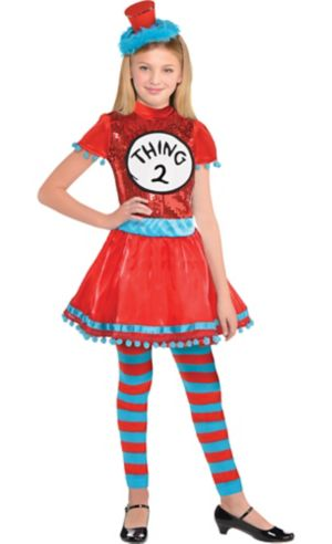 Girls Thing 1 & Thing 2 Dress Costume - Dr. Seuss