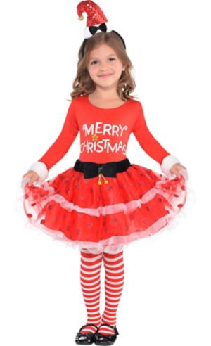 Girls Candy Cane Christmas Costume