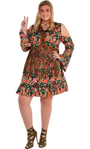 Adult Flower Power Hippie Costume Plus Size