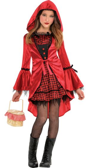 Girls Gothic Red Riding Hood Costume