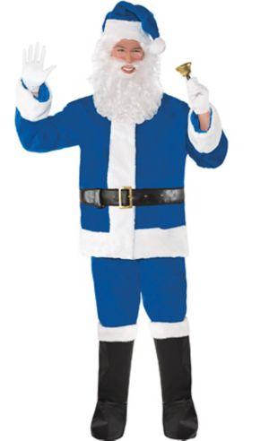 Adult Plush Blue Santa Suit Costume Kit