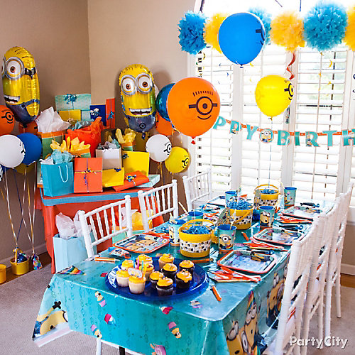 despicable me party room idea party city. Black Bedroom Furniture Sets. Home Design Ideas