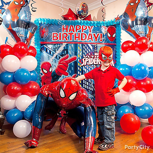 Spider Man Balloon Column Idea - Decorating Ideas - Spider ...