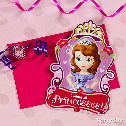 Sofia the First Invite with Favor Idea