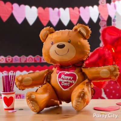 Valentine's Day Teddy Bear Balloon Idea