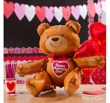 Valentines Day Teddy Bear Balloon Idea