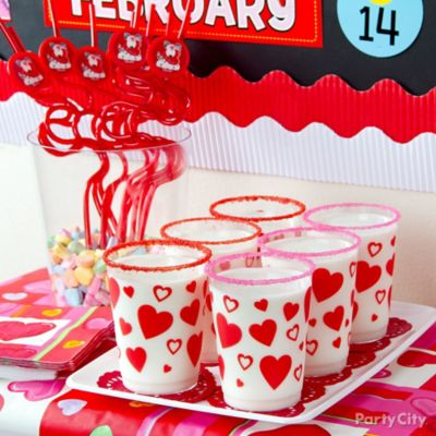 Valentine's Day Sugar Rimmed Milk Cup Idea