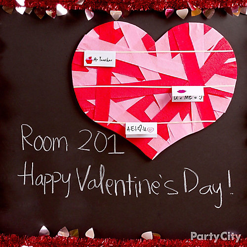 diy heart ribbon bulletin board idea - valentines day class party, Ideas