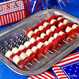 American Flag Fruit Skewers Idea