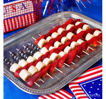 American Flag Fruit Skewers Idea