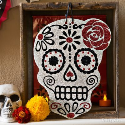 Day of the Dead Glitter Sugar Skull & Frame Idea