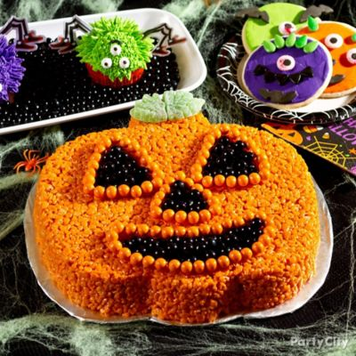 Friendly Crispy Rice Jack-o'-Lantern Cake How To